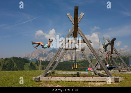 Playground near the Piz Sorega cable car station in the Pralongià above San Cassiano-St. Kassian in the Dolomites, - Stock Photo