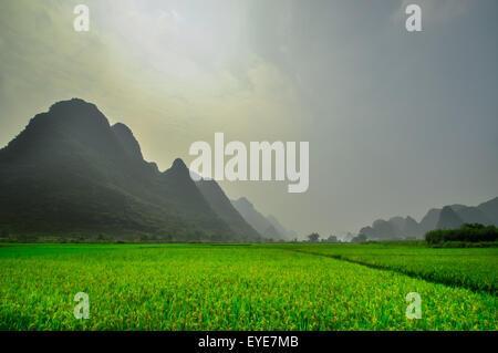 Beautiful Li river side Karst mountain in Yangshuo Guilin, China - Stock Photo