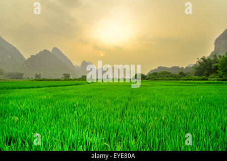 Beautiful Li river side Karst landscape in Yangshuo Guilin, China - Stock Photo