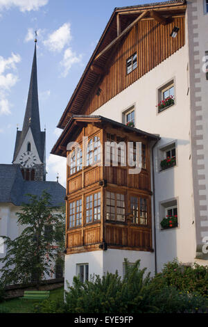 Typical Tyrolean architecture in Leonhard-St Leonardo, a Dolomites village in south Tyrol, Italy. - Stock Photo