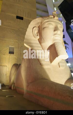 Las Vegas, Usa - September 10, 2013: Replica of Great Sphinx in front of Luxor Hotel and Casino, the most recognizable - Stock Photo