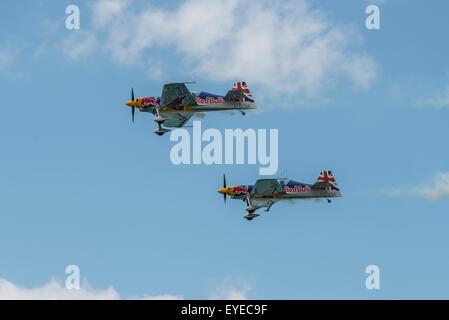 The Red Bull Matadors aerobatic team fly their XtremeAir XA41 aircraft in formation - Stock Photo