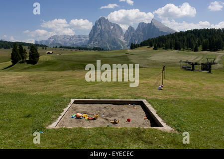 Childrens' sandpit landscape on the Siusi plateau, above the South Tyrolean town of Ortisei-Sankt Ulrich in the - Stock Photo