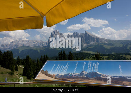Cable car terrace panaorama above the Siusi plateau, above the South Tyrolean town of Ortisei-Sankt Ulrich in the - Stock Photo