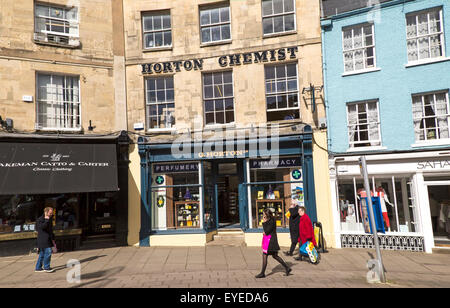 Town centre street shops, Cirencester, Gloucestershire, England, UK, - Stock Photo