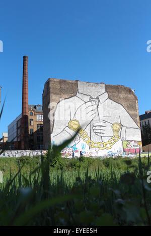 huge street art mural on building, berlin kreuzberg - Stock Photo