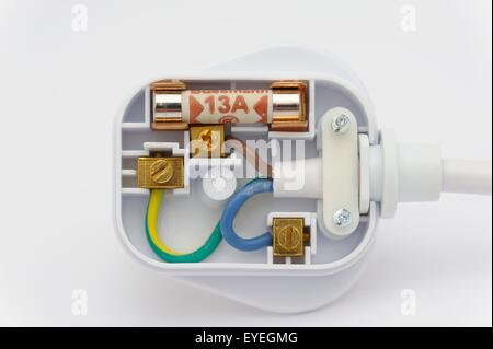 a 13 amp fused domestic plug showing the internal wiring layout rh alamy com Wiring a Plug Up Wiring a Plug Up