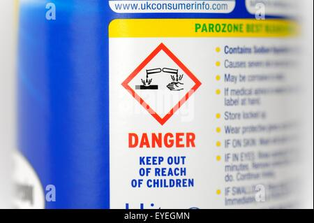 Caustic warning symbol on a bottle of bleach