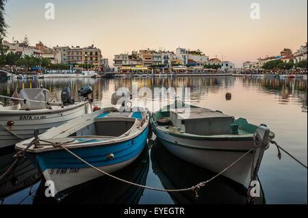 Lake Voulismeni in Agios Nikolaos; Crete, Greece - Stock Photo