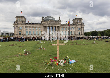 Graves in front of the german parliament (Reichstag), berlin Germany - Stock Photo