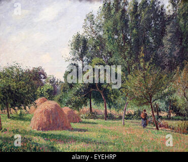 Camille Pissarro (1830-1903). French painter. Haystacks, Morning, Eragny, 1899. Oil on canvas. - Stock Photo