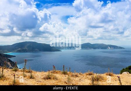 View from Myrtos Beach, Kefalonia Island, Ionian Sea, Greece - Stock Photo