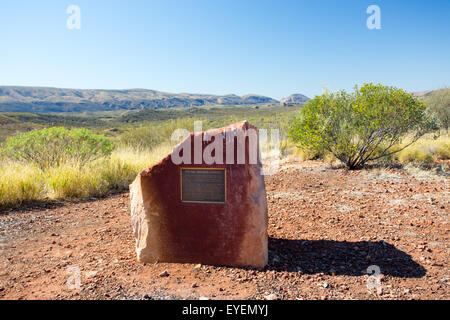 A view across the West Macdonnell Ranges at Neil Hargrave Lookout near Alice Springs, Northern Territory, Australia - Stock Photo