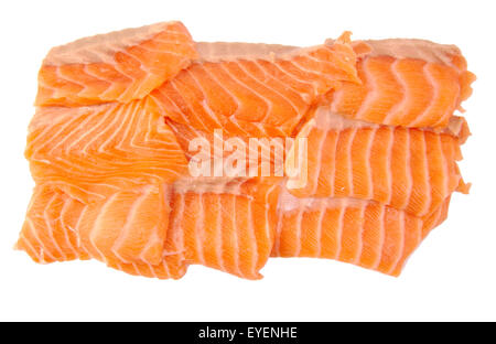 Raw salmon fillets isolated on white background - Stock Photo