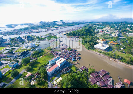 Aerial view of Bandar Seri Begawan, the capital of Brunei; Bandar Seri Begawan, Brunei - Stock Photo