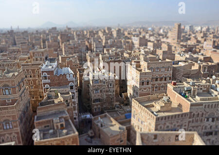 Panoramic view of the old city of Sana'a (San'a') Top view of the capital of Yemen - Stock Photo