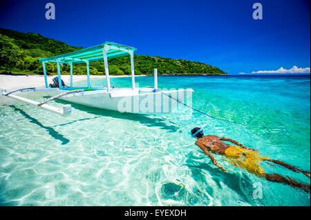 Snorkelling off a beach near Baucau on Timor's Northern coast; Timor-Leste - Stock Photo
