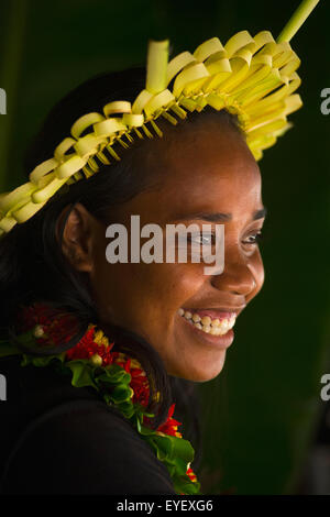 Young Kiribati woman in traditional dress; Kiribati Islands - Stock Photo