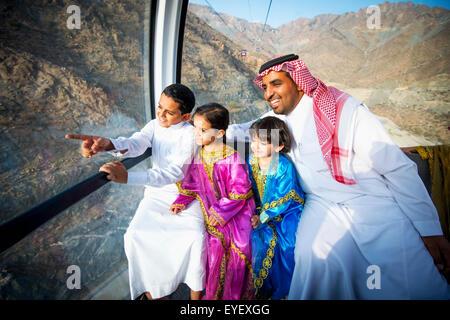 Cable car ride; Taif, Sauci Arabia - Stock Photo