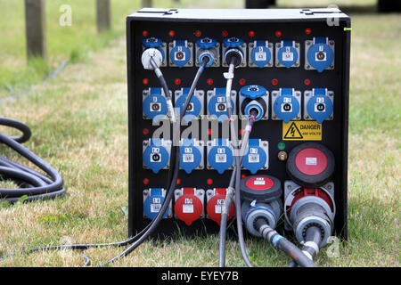 Outdoors electricity power management junction box at an outdoor event - Stock Photo
