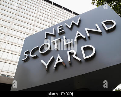 Revolving sign, New Scotland Yard, St James; London, England - Stock Photo