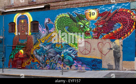 Wall Painted with fighting Chinese Dragons in Chinatown , San Francisco ,California - Stock Photo