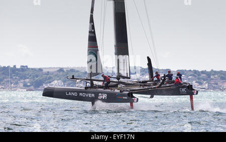 Sir Ben Ainslie's AC45 catamaran before the first day's competition in the America's Cup World Series in Portsmouth. - Stock Photo