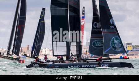Sir Ben Ainslie's AC45 catamaran leading the fleet during the first day's competition in the America's Cup World - Stock Photo