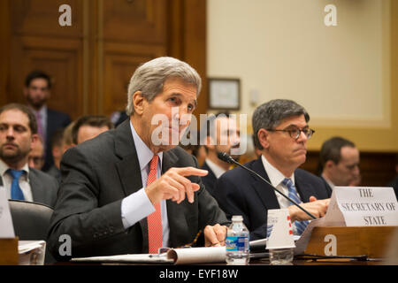Washington, DC, USA. 28th July, 2015. Secretary of State John Kerry along with Ernest Montz, Sec of Energy and Jacob - Stock Photo