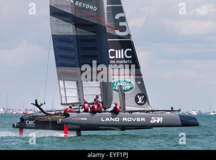 Sir Ben Ainslie's AC45 catamaran during the first day's competition in the America's Cup World Series in Portsmouth. - Stock Photo