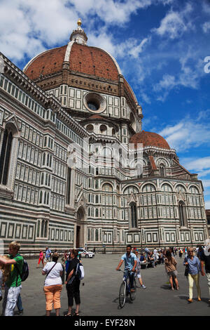 View of Florence Cathedral in Piazza del Duomo; Florence, Italy - Stock Photo