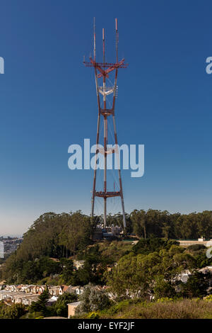 Sutro Tower a  three-pronged TV and radio antenna tower which can be seen from all over the city from Twin Peaks - Stock Photo