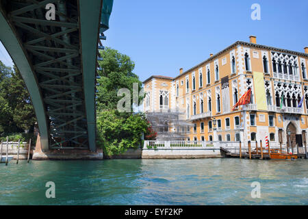 A view of the Art Institute from under the Accademia Bridge; Venice, Italy - Stock Photo