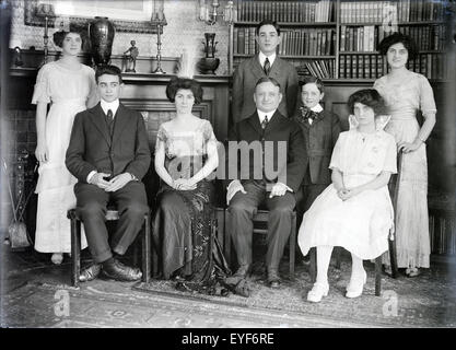 Antique circa 1915 photograph of the Fitzgerald family. SOURCE: ORIGINAL PHOTOGRAPHIC NEGATIVE - Stock Photo