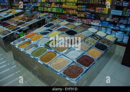 Display of  Seeds, Nuts, Beans, Lentils and Pulses, Spice Shop Dubai - Stock Photo