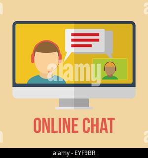 Online chat icon. Flat design vector illustration. - Stock Photo
