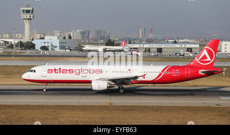 ISTANBUL, TURKEY - JULY 09, 2015: AtlasGlobal Airline Airbus A321-211 (CN 675) takes off from Istanbul Ataturk Airport. - Stock Photo