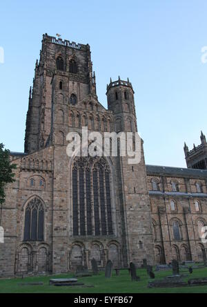 Exterior of Durham cathedral at dusk UK July 2015 - Stock Photo