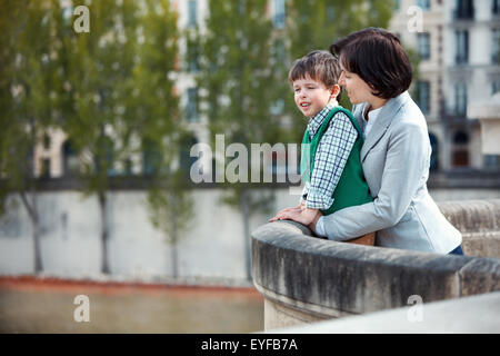Mother and son having fun during summer vacation - Stock Photo
