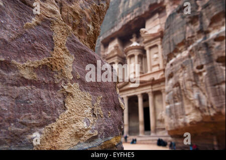 Treasury at Petra, also known as El Khazneh Nabataean, one of the new Seven Wonders of the World; Petra, Jordan - Stock Photo