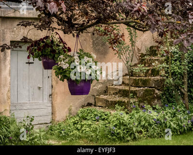 Doorway And Steps, Old Cottage In The Small Medieval Town Of St Eulalie