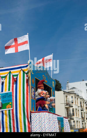 Punch and Judy puppet show at Viking Bay; Broadstairs, Kent, England - Stock Photo