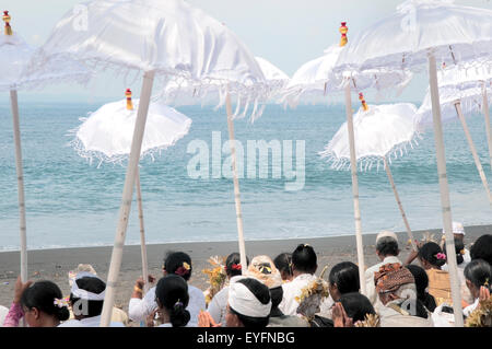 A hindu memorial on the beach; Bali, Indonesia - Stock Photo