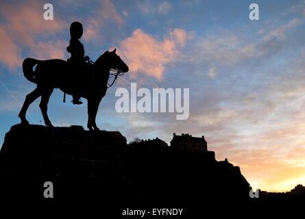 The Royal Scots Greys monument on Princes Street; Edinburgh, Scotland - Stock Photo