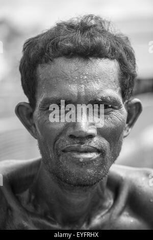 Brick kiln worker - Kandal Province, Cambodia - Stock Photo