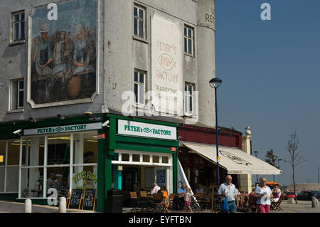 Cafe society, with waterfront bars and restaurants overlooking the marina; Ramsgate, Thanet, Kent, England - Stock Photo