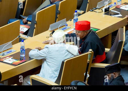 Addis Ababa, Ethiopia. 28th July, 2015. Religions leaders await the arrival of President Obama on July 28, 2015, - Stock Photo