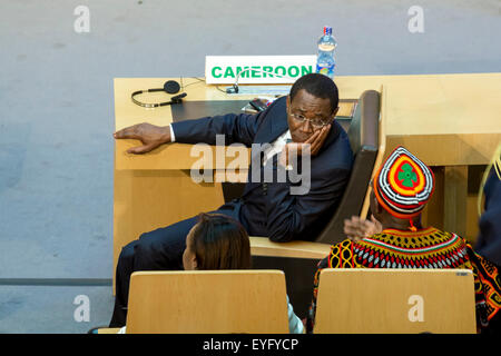 Addis Ababa, Ethiopia. 28th July, 2015. High level delegate of Cameroon awaits the arrival of President Obama on - Stock Photo