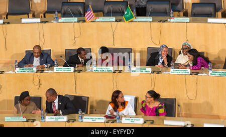 Addis Ababa, Ethiopia. 28th July, 2015. Commissioners and high level delegates of the African Union Commission await - Stock Photo