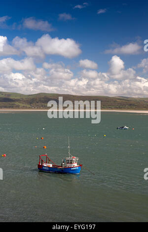 UK, Wales, Gwynedd, Aberdovey, fishing boats moored in Dovey Estuary - Stock Photo